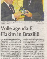 Antilliaans dagblad: Volle agenda El Hakim in Brazilie